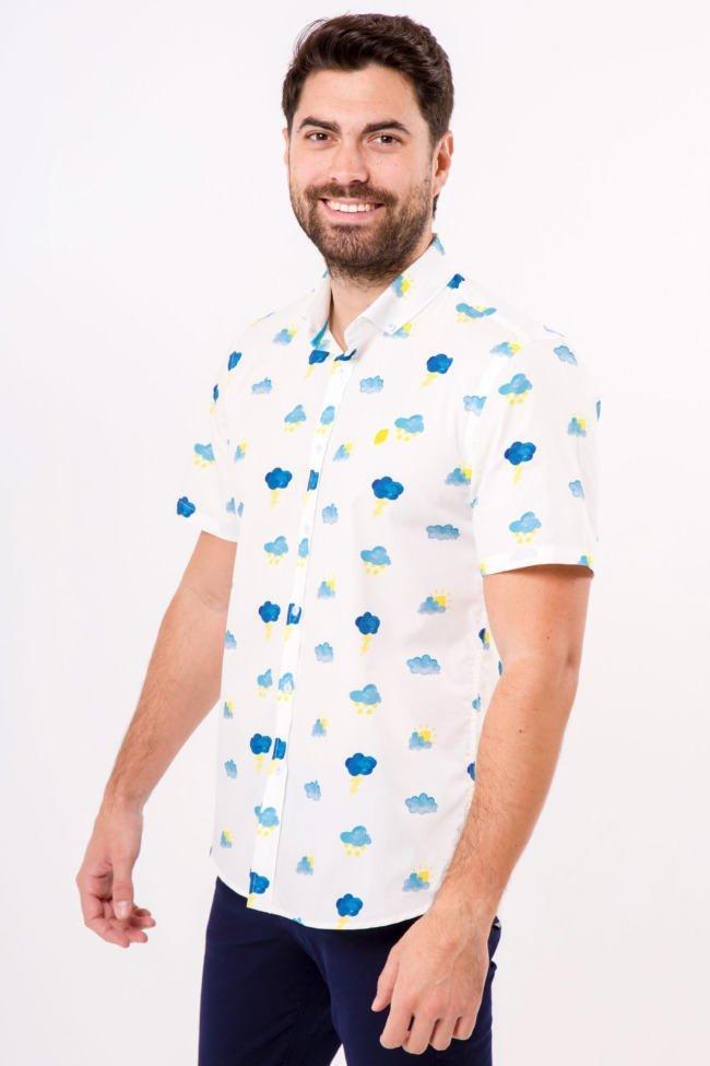 camisa-hombre-manga-corta-sirlemon-lemon-storm-estampado-nubes-limón