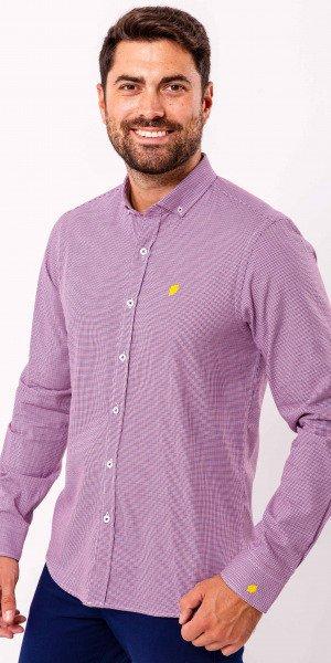 Camisa-sir-lemon-algodón-pata-de-gallo-azul-granate