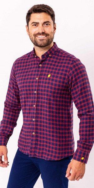 Camisa-sir-lemon-algodón-cuadros-azul-rojo